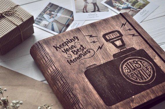 wooden photo albun