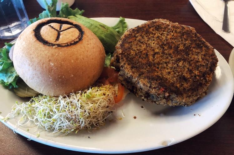 Vegetarian burger at peace tree in moab